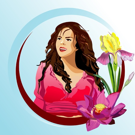 hatchwork: Vector closeup portrait of a girl with beautiful hair in red dress Illustration