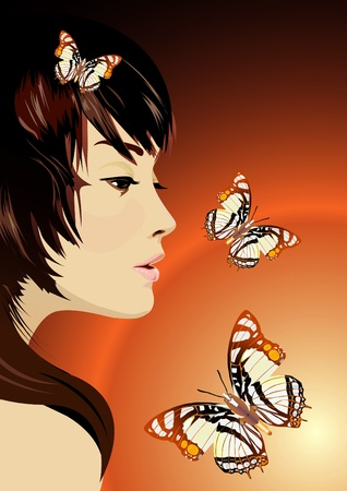 shy girl: Vector romantic girl with butterflies Illustration