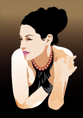 abstract portrait: beautiful lady with perfect hairstyle vector