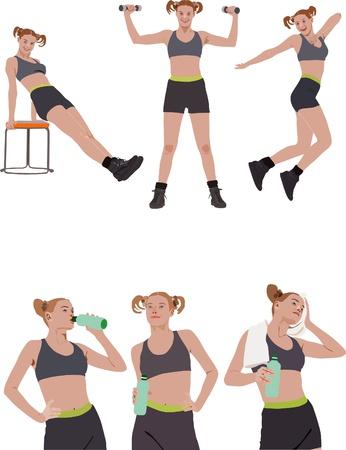 sit ups: Fitness vector series