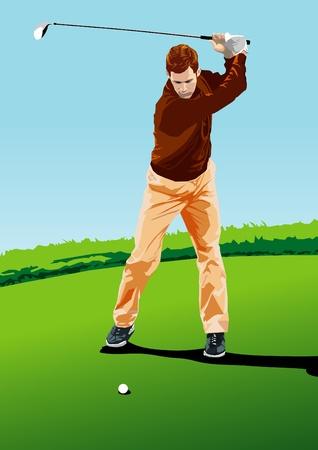 golf swing: Golf player. Vector illustration