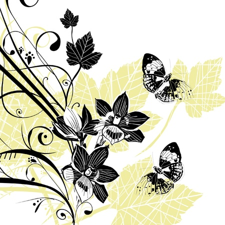 Abstract vector floral composition with butterflies