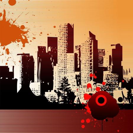 financial district: Abstract vector urban art - City landscape Illustration