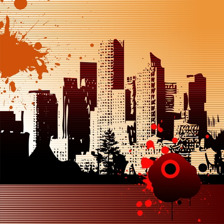 Abstract vector urban art - City landscape Ilustração Vetorial