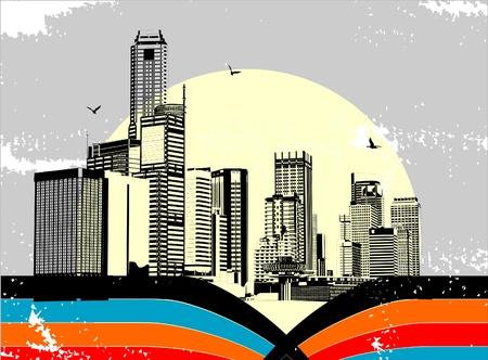 street scene: Abstract vector urban art - City landscape Illustration
