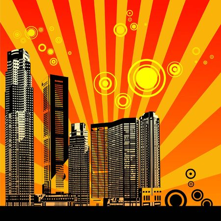 Abstract vector urban art - City landscape Illustration