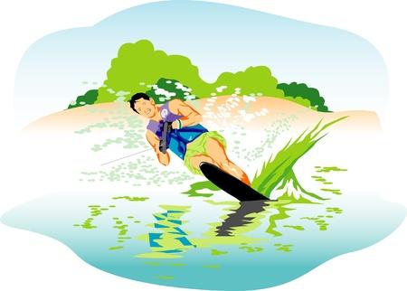 Water skiing vector illustration