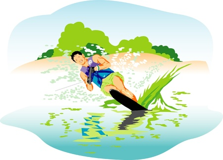 water skiing: Water skiing vector illustration