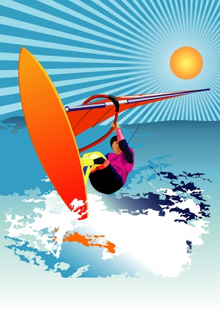 wind surf: Vector ilustraci�n de navegar por el viento Vectores