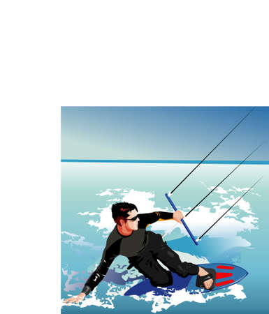 water  skier: Water skiing vector illustration