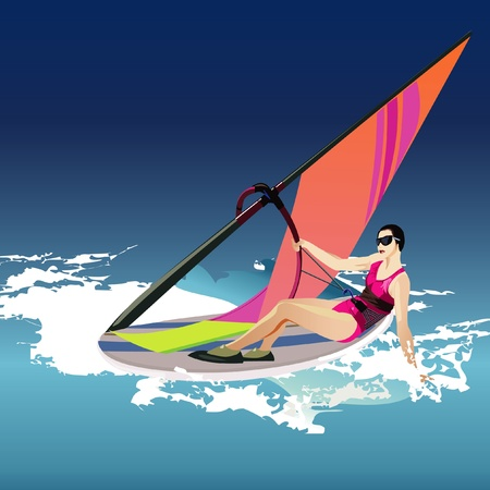 windsurf: Vector women wind surfing illustration
