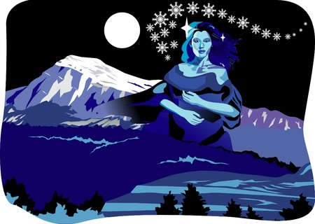 Beautifull night winter mountain fantasy Stock Vector - 10898025