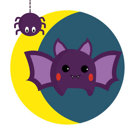 Pretty bat and spider in the background of the moon