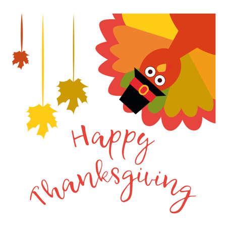 Happy Thanksgiving wenskaart met grappige cartoon kalkoen
