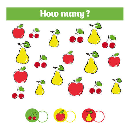 Counting educational children game with fruits