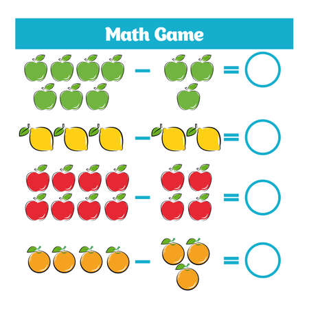 equation: Mathematics educational game for children. Learning subtraction worksheet for kids, counting activity.