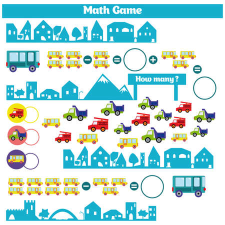 additional training: Mathematics educational game for children. Learning subtraction worksheet for kids, counting activity. Vector illustration Illustration