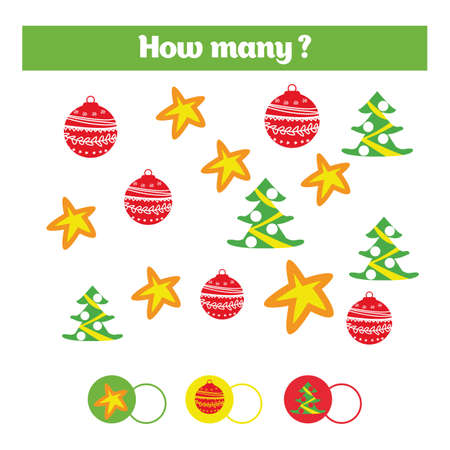 additional training: Counting educational children game, kids activity sheet. How many objects task. Learning numbers, mathematics, addition theme