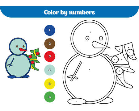 Color by number, education game for children. Coloring page, drawing kids activity Christmas Xmas and New Year holidays design