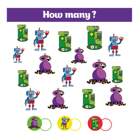 Counting educational children game, kids activity sheet. How many objects task. Learning numbers, mathematics, theme robots