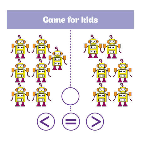 additional training: Education logic game for preschool kids. Choose the correct answer. More, less or equal Vector illustration. Theme robots. Illustration
