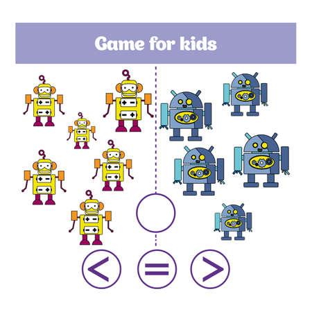 Education logic game for preschool kids. Choose the correct answer. More, less or equal Vector illustration. Illustration