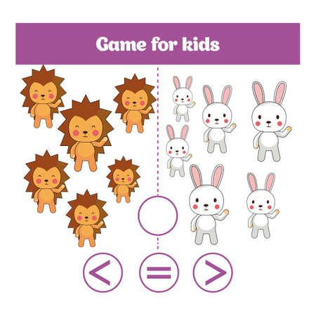Education logic game for preschool kids. Choose the correct answer. More, less or equal Vector illustration. Illustration