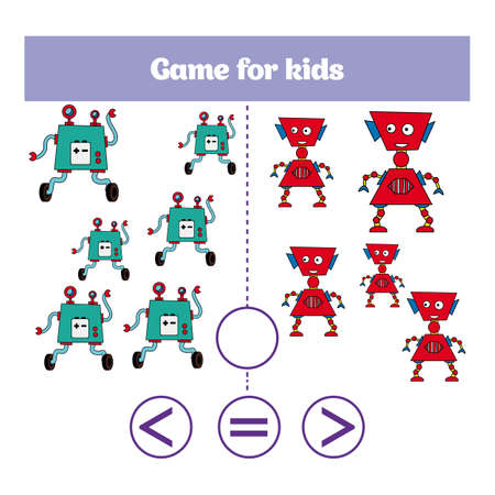 Education logic game for preschool kids. Choose the correct answer. More, less or equal Vector illustration. Theme robots. Illustration
