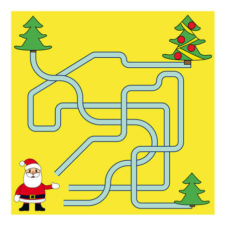 Funny Christmas Maze Game: Santa Claus New Year Vector Illustration