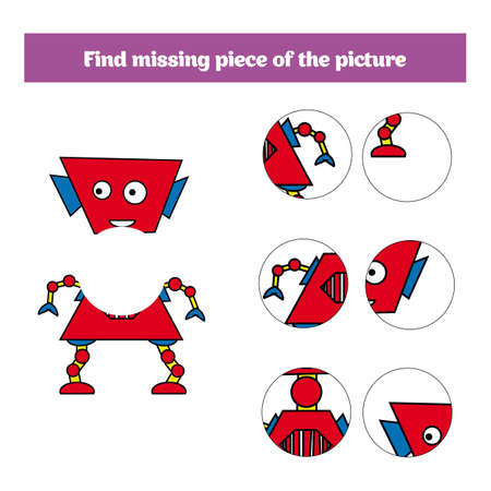 Matching children educational game. Match insects parts. Find missing puzzle. Activity for pre school years kids.
