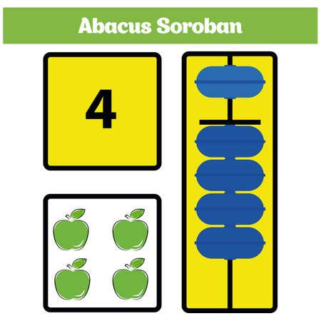 Abacus Soroban Kinder Lernen Zahlen Mit Abakus, Mathe-Arbeitsblatt ...