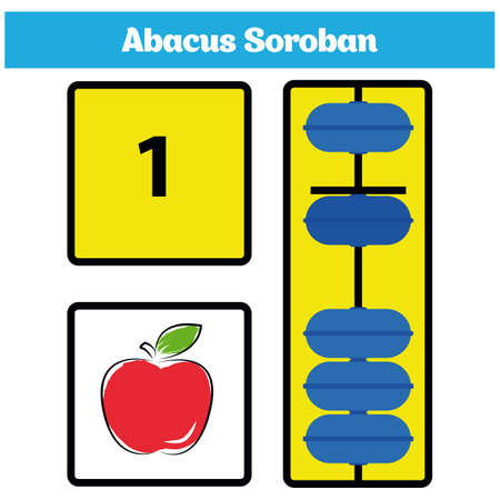 Abacus Soroban kids with abacus Vector Illustration.