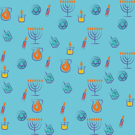 Hanukkah traditional jewish holiday symbols set. Vector collection of labels and elements for jewish holiday.