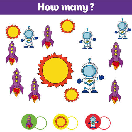 additional training: Counting educational children game, kids activity sheet. How many objects task. Learning mathematics, numbers, addition theme cosmos.