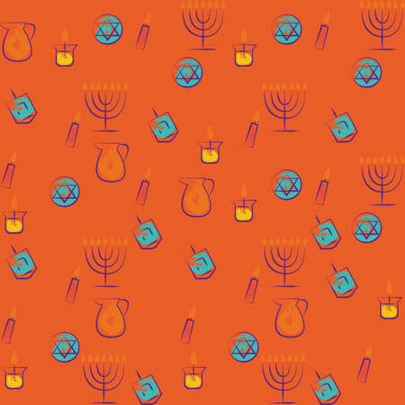 Hanukkah traditional holiday symbols set.