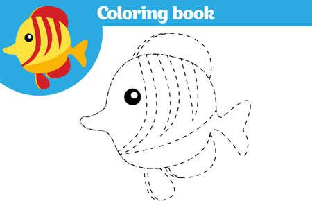Coloriage, jeu éducatif pour les enfants. Coloriage, dessin de l'activité des enfants. Illustration vectorielle Banque d'images - 90822632