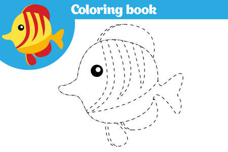 Coloring page, education game for children. Coloring page, drawing kids activity. Vector illustration. Vectores