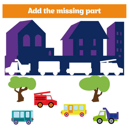 Puzzle game. Visual Educational Game for children. Task: find the missing parts. Worksheet for preschool kids
