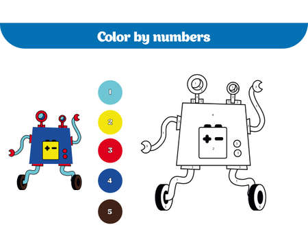 Color by number, education game for children. Coloring page, drawing kids activity. Robot. Illustration