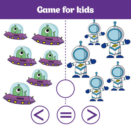 Education logic game for preschool kids. Choose the correct answer. More, less or equal Vector illustration. Cosmos design.