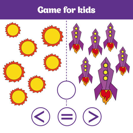 Education logic game for preschool kids. Choose the correct answer. More, less or equal. Cosmos design, vector illustration.