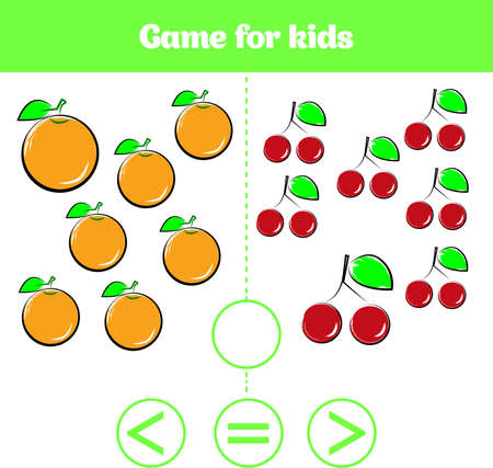 Education logic game for preschool kids. Choose the correct answer. More, less or equal illustration. Fruits vegetables pictures for kids. . Stock fotó - 91107913