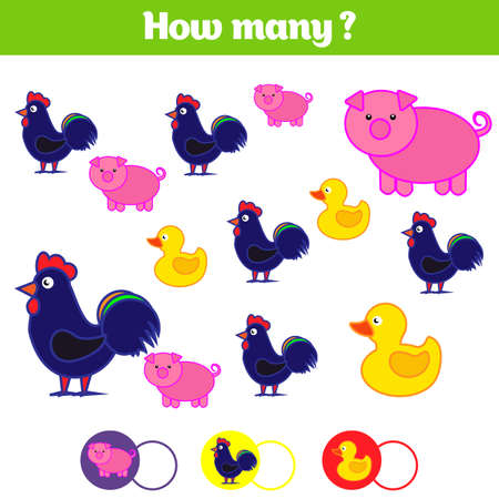 Counting kids game, kids activity sheet.