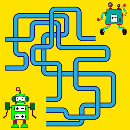 Cartoon Illustration of Paths or Maze Puzzle Activity Game. Funny maze for children Stock Illustratie
