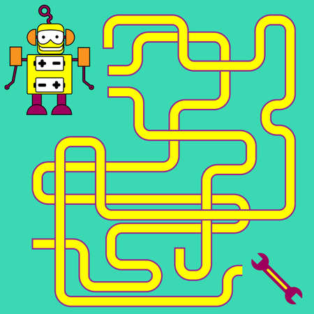 Cartoon Illustration of Paths or Maze Puzzle Activity Game. Kids learning games collection. Stock Illustratie