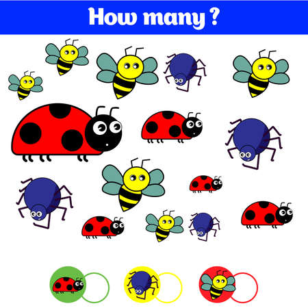 A seamless pattern of different kinds of insects. Counting educational children game, kids activity sheet. How many objects task. Learning mathematics, numbers. Vector illustration