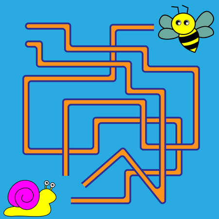 Cartoon Illustration of Paths or Maze Puzzle Activity Game. Kids learning games collection. Illustration