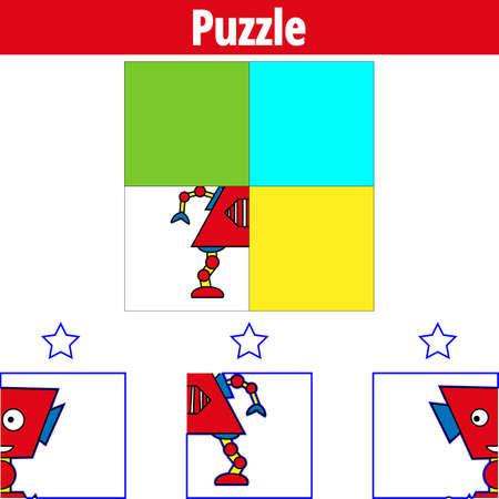 Gioco di puzzle. Gioco educativo visivo per bambini. Foglio di lavoro per bambini in età prescolare. Illustrazione vettoriale. Robot.