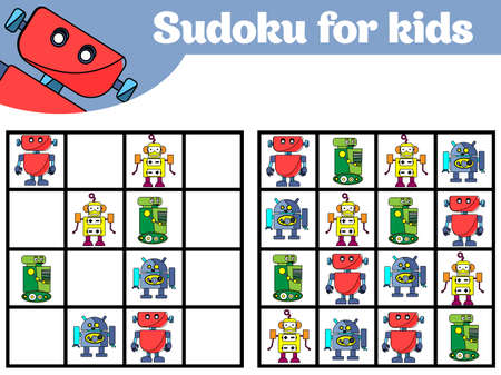 Sudoku game for children with pictures. Logic game for preschool children. Rebus for children. Educational game vector illustration Robot.