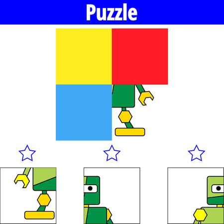Puzzle game Visual Educational Game for children. Worksheet for preschool kids. Vector illustration. Robot.